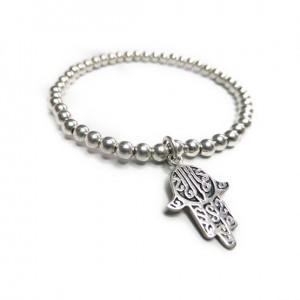 Sterling Silver Bracelet Bracelet with Hamsa Charm