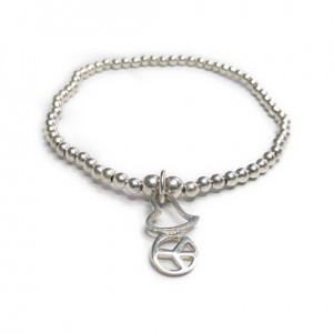 Sterling Silver Bracelet Bracelet with Peace & Love Charm