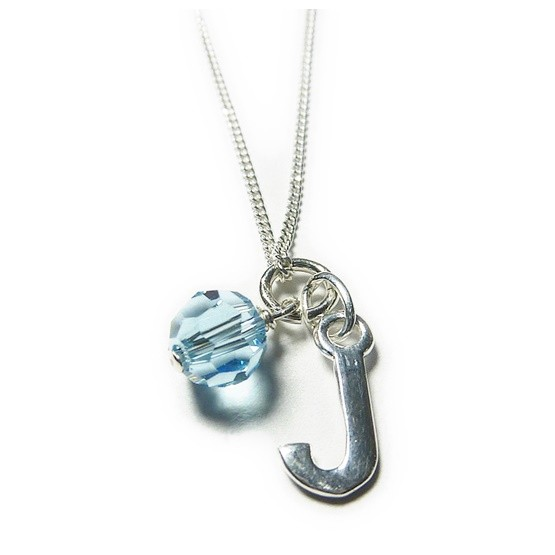 Sterling Silver Bridesmaid Necklace with Initial & Blue Swarovski Crystal