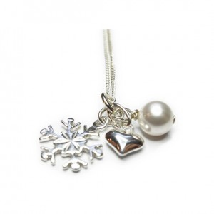 Sterling Silver Christmas Wishes Necklace with Snowflake, Puffed Heart and Swarovski Pearl