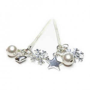 Sterling Silver Christmas Wishes Necklaces with Charms & Swarovski Pearls