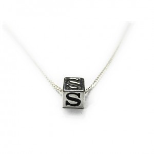 Sterling Silver Initial Cube Necklace