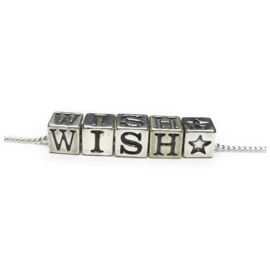 Sterling Silver Initial Cube Necklace with  STAR