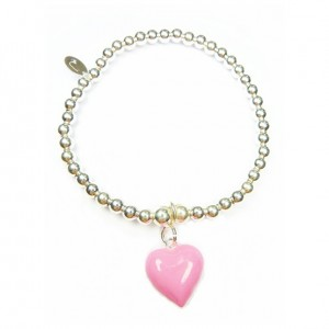 Sterling Silver Mini Ball Bracelet with Large Pink Enamel Heart