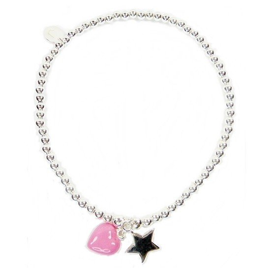 Sterling Silver Mini Ball Bracelet with Pink Enamel Heart & Star Charms
