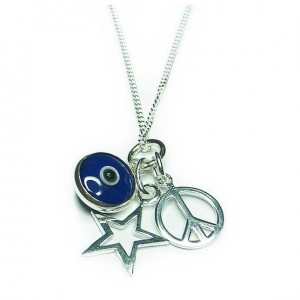 Sterling Silver Mystic Wishes Necklaces with Blue Evil Eye, Star & Peace Charms