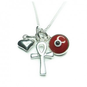 Sterling Silver Mystic Wishes Necklaces with Red Eveil Eye, Ankh & Heart Charms