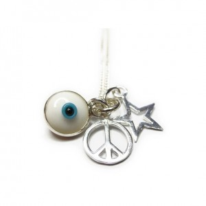 Sterling Silver Mystic Wishes Necklaces with White Eveil Eye, Peace & Star Charms
