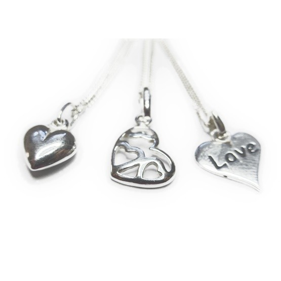 Sterling Silver Necklace Collection of Love Charms