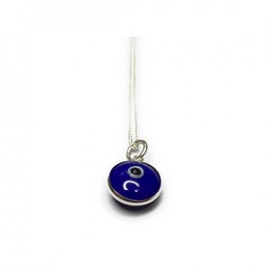 Sterling Silver Necklace with Blue Turkish Glass Evil Eye Charm