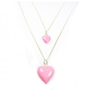 Sterling Silver Necklace with Choice of Pink Puffed Heart Charms
