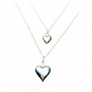 Sterling Silver Necklace with Choice of Puffed Heart Charms