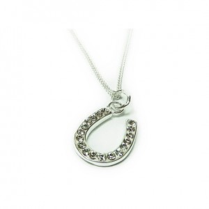 Sterling Silver Necklace with Crystal Horseshoe