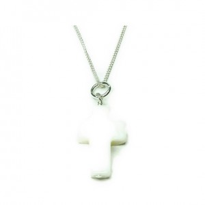 Sterling Silver Necklace with Mother of Pearl Cross Charm
