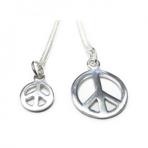 Sterling Silver Necklace with Peace Charm