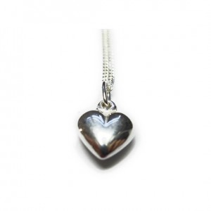 Sterling Silver Necklace with Puffed Heart Charm