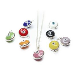 Sterling Silver Necklace with Small Pink Turkish Glass Evil Eye Charm and Colour Choices