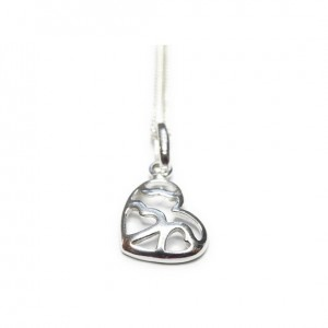 Sterling Silver Necklace with small multi heart charm