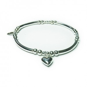 Sterling Silver Noodle & Ball Bracelet with Puffed Heart Charm