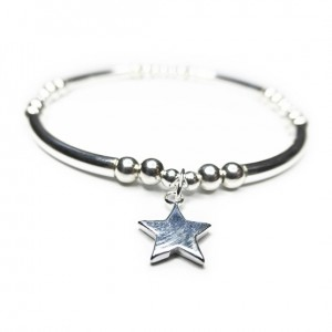 Sterling Silver Noodle & Ball Bracelet with Star Charm