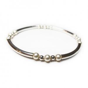 Sterling Silver Noodle & Ball Bracelet with Swarovski Pearls