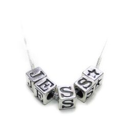 Sterling Silver Personalised Initial Cube Necklace