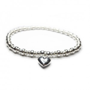 Sterling Silver Rondelle Doughnut Bracelet with Puffed Heart Charm