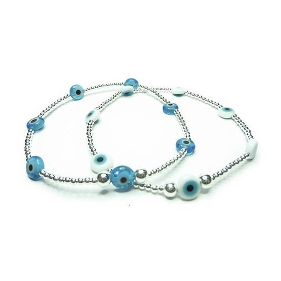 Sterling Silver Skinny Evil Eye Bead Bracelets