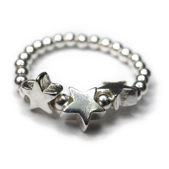 Sterling Silver Skinny Stacking Ball Ring with Three Star Beads