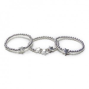 Sterling Silver Skinny Stacking Ball Rings with Stars