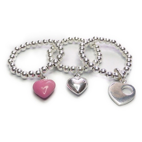 Sterling Silver Stacking Ball Rings with Choice of Heart Charms