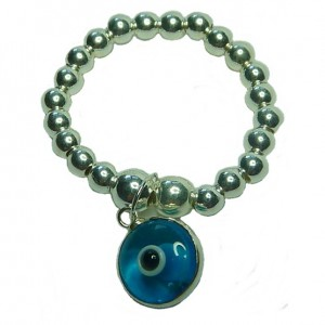 Sterling Silver Stacking Rings with Blue Turkish Glass Evil Eye Charm Choices