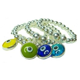 Sterling Silver Stacking Rings with Turkish Glass Evil Eye Charms