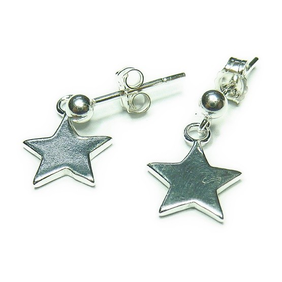 Sterling Silver Stud Earrings with Star Charms