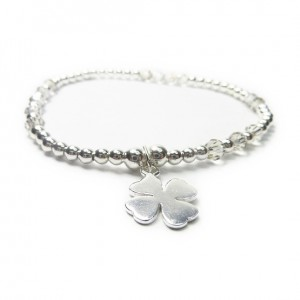 Sterling Silver & Swarovski Crystal Bridal Ball Bracelet with Clover