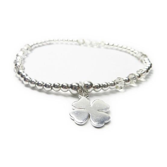Sterling Silver & Swarovski Crystal Bridal Ball Bracelet with Clover