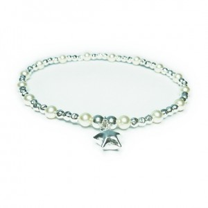 Sterling Silver & Swarovski Pearl Ball Bracelet with Puffed Star