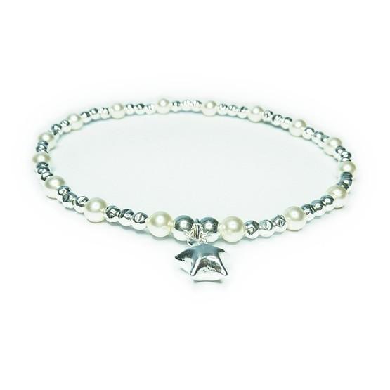 Sterling Silver & Swarovski Pearl Ball Bracelet with Puffed Star