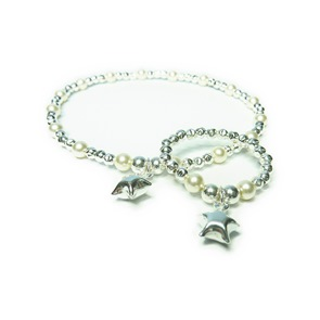 Sterling Silver and Pearl Star Bridal Bracelet and Ring