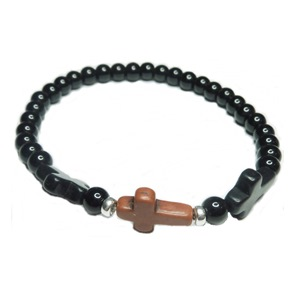 Men's Onyx Ball Bracelet with Triple Cross Beads