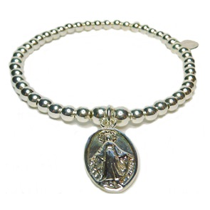 Sterling Silver Ball Bracelet with Virgin Mary Charm