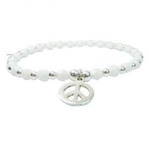 White Faceted Czech & Sterling Silver Ball Bracelet with Peace