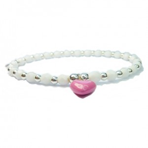 White Faceted Czech & Sterling Silver Ball Bracelet with Pink Heart
