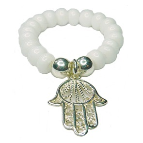 White Faceted Czech Ring with Sterling Silver Hamsa