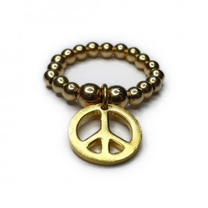 Gold Filled Ball Ring with Gold Peace Charm