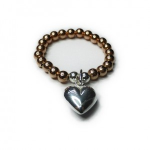 Gold Filled Ball Ring with Sterling Silver Heart Charm