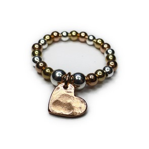 Silver, Gold and Rose Gold Ring with Rose Gold Heart Charm