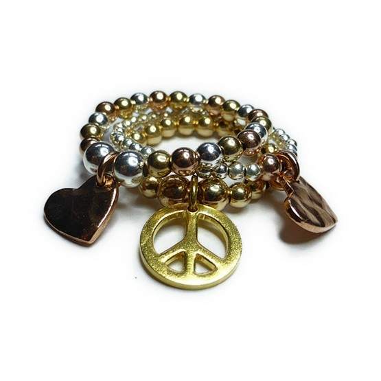 Stack of Gold Filled Ball Rings with Gold Peace & Heart Charms