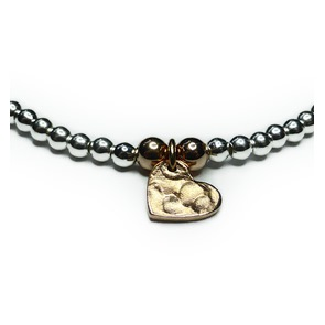 Sterling Silver Ball Bracelet with Rose Gold Heart Closeup