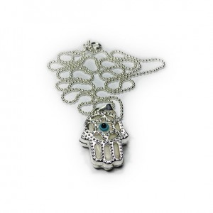 Sterling Silver Ball Chain with Khamsa